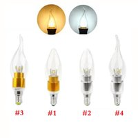 Wholesale E12 Leds - Silver Gold 5W Led Lights Candle Lamp E27 E12 E14 Led Bulbs Light 6 Leds SMD 5730 High Power AC 110-240V