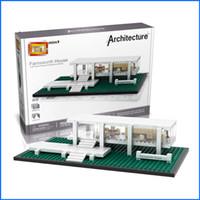 Wholesale Mini House Model - LOZ Mini Blocks Farnsworth House Model Bricks Building Blocks World Famous Architecture Educational Toys For Children