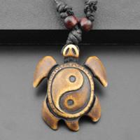 Wholesale Tibetan Bone Necklace - Wholesale-Tibetan Yak Bone Yin Yang Turtle Charm Pendant Necklace Cord Choker Necklace
