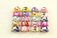 Wholesale Children Bag China - wholesale 500 Pcs Lot Mix New Party Gift Bag Fit KITTY CAT Round Kid Resin Rings Children Lovely Present