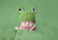 Wholesale Newborn Baby Frog Caps - Cartoon Baby Hats Handmade Infant Caps Newborn Photograph Props Crochet Knitted Cap Unisex Girls Boys Frog Hats G826