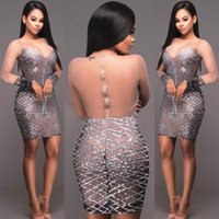 Wholesale Short Tight Sexy Dresses - Sexy Long Sleeve Sequins Sparkly Sheer Mesh Tight Bodycon Pencil Short Mini Dress Sparkle Club Cocktail Party Evening Dresses Clubwear