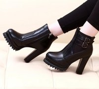 Wholesale Trendy Boots Buckles - Trendy Lace Up Chunky Heel Boots Women Stylish Winter Shoes 6 Colors Size 40