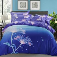 Wholesale Comforter Lotus - Svetanya Lotus Print Bedclothes summer Bedding Set Queen Full King Size Duvet Cover Sets Purple Blue mix color