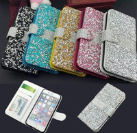 Wholesale Beautiful Stand - Luxury Bling Rhinestone Diamond Flip Leather Case for iphone 6 6s 7 plus Stand Wallet Cover Card Slots Beautiful