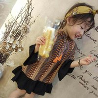 Wholesale Brown Summer Infant Girl Dress - Vintga New Girls Flower printing Dresses Flare Sleeve chiffon Toddler Dresses Fashion Infant baby Beach Dress Children Clothes Clothing A333