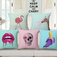 Wholesale Lips Throw Pillows - new creative cushion cover pink blue home decor ananas flamingo throw pillow case skull almofada printed sexy lips cojines