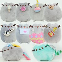 Wholesale Child Xmas - 15cm Pusheen Cat Plush Toys Cookie Ice cream Doughnut Rainbow Angle Fat Cat Doll Toys Stuffed Animals Toys For Children Xmas Gifts KKA3018