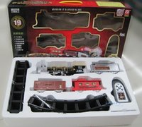 Wholesale Battery Trains - Large classical toy steam train tracks train remote control music light smoke