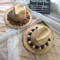 Wholesale Beach Ball Candy - Wholesale- Women Sun Hat Candy Color Straw Hat New Arrival Fashion Wide Large Brim Summer Beach Cap wool balls snapback caps bone gorras