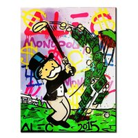 Wholesale Alec Monopoly GOLF urban art Handcraft Abstract Graffiti Art oil painting Home Wall Decor On High Quality Canvas size can be customized