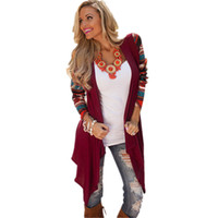 Wholesale Aztec Tops - Wholesale-Women Long Cardigan 2016 Women's Trendy Winter Knitted Sweater Open Stitch Long Sleeve Cardigans Casual Aztec Striped Print Tops
