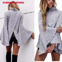 Wholesale Knitted Bat Sweater - New Fashion 2017 Autumn Winter Women Casual Solid Sweaters Pullovers bat Sleeve turtle Neck Knitted Blouse Tops Sweater long sleeve