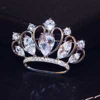Wholesale Costume Crown Jewelry - Luxury Zircon Crown Brooch Bride Wedding Costume Jewelry Fashion Lape Pins High Quality Collar Brooches Scarf buckle Bijoux