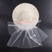 Wholesale Western Ornaments - Bride Ornaments White Mesh Hat Fashion Women Bowknot Flower Sinamay Fascinator Hats For Wedding Bridal Church Party Western Style