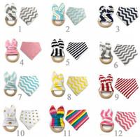 12 Styles New Baby Bibs+Teething Ring Teeth Stick 2pcs Sets 100% Cotton bamboo fiber Infant Bibs Teething Ring Wooden Teething Training
