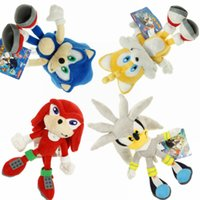 "Wholesale Echidna Plush - Hot New 4 Styles 8""-9"" 20CM-23CM Sonic The Hedgehog Stuffed Doll Sonic Knuckles Silver Tails The Echidna Dolls Soft Gifts Plush Toys"