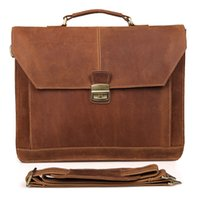 Mens 100% Crazy Horse Leather Single Shoulder Bolsa de ombro inclinada Tote Business Bag Briefcase 7083B