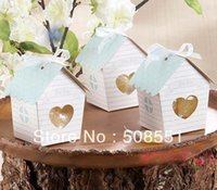 "Wholesale Love Bird Nesting Box - Wholesale-2016 new style ""Love Nest"" Bird House Favor Candy Gift Boxes With Ribbon And Tag For Party Favors 12pcs"