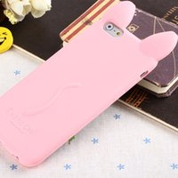 Étui Iphone Étui pour téléphone portable pour iPhone 6 6S Étuis 5 5S SE3D Oreilles mignonnes pour chat Soft TPU Silicone Candy Colors Cartoon Back Cover