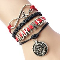 Wholesale Infinity Marine - Wholesale-Drop Shipping Infinity Love Marines Bracelet- Gift for United States Marime Charm Handmade Leather Rope
