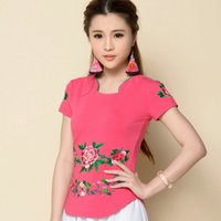 Wholesale Slim Curved Shirt - Wholesale-Ethnic Embroidery Slim Waist Curved Design Large Size Women T Shirt Summer 2016 New Fashion Short Sleeve Casaul Tops
