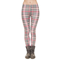 Leggings Femme Gris Grille 3D Gris Imprimer Lady Skinny Stretchy Plaid Checked Jeggings Girl Pantalons à crayons Runner Casual Yoga Trousers (J31744)