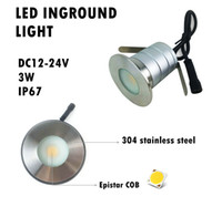 Wholesale Floor Spot Lighting - 8pcs IP67 12V 24V 3W COB Waterproof Mini LED Underground Light Buried Lamp Garden Ground Light Recessed Deck Floor Spot Paver Light