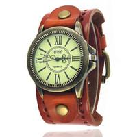 Wholesale Rome Antique - Punk Wristwatches Men's Vintage Wide Leather Rivet Bracelet Watches Quartz Watch Rome Personality Casual Relogio W0077