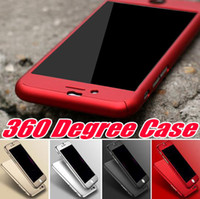 Wholesale Iphone Case Wholesale Free Shipping - 360 Degree Case Full Body Protection Hard PC Full Cover Body Case Cover Tempered Glass For Iphone 7 Plus I6 6S SE 5 5S Free Ship MOQ 10pcs