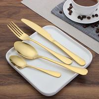 Wholesale Rose Dinnerware - 4 Piece Set Rose Gold Stainless Steel Dinnerware Sets Tableware Knife Fork Teaspoon Luxury Cutlery Set Tableware Set
