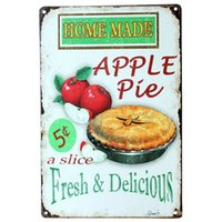 Wholesale Apple Pies - Home Made Apple pie fresh and delicious Metal Poster Tin Sign Wall decor Bar Retro Painting wall sticker wall art decor home new