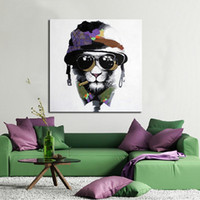 Wholesale canvas wall prints lion resale online - Framed Cool Lion Pure Hand painted Modern Abstract Animal Art Oil Painting Home Wall Decor On High Quality Canvas size can be customized