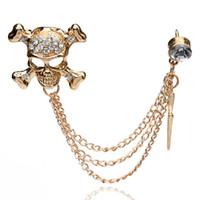 Wholesale Skull Collar Chain - Wholesale- Punk Luxury Rhinestone Skull Men Brooches Skeleton Badge Chain Tassel Brooch Men's Friend Suit Collar Clip Accessories Wholesale