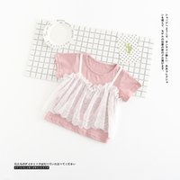 Wholesale Lace Tank Tops Toddler - Baby summer T-shirt little girls lace tank top fake two piece princess tops toddler kids short sleeve T-shirt girl lace clothes T3347