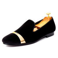 Wholesale Men Shoes Plate - Harpelunde Men Dress Shoes With Gold Plate Black Velvet Loafers Handmade Flats Free Drop Shipping Size 7-14