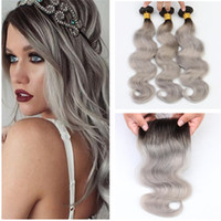 Wholesale Wet Wavy Ombre Weave - Wet And Wavy 1B Grey Ombré Malaysian Hair 3 Bundles with Closure Black Roots Silver Gray Ombre Human Hair Weaves Closure For Sale