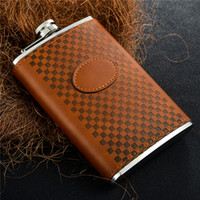 Wholesale Alcohol Flask Oz - 8 oz Alcohol Flask Brown Grid Pattern PU Leather Stainless Steel Mini Hip Flask Camp Outdoor Portable Hip Flask