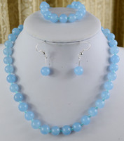 Livraison gratuite 10mm Natural Blue Aquamarine Gemstone Necklace Bracelet Earring Set 18