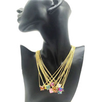 Wholesale Color Acrylic Gem Stones - Hot Dream Color Star Effect Stone Necklace Various 14 Colors Gold Plated Geometry Gem Stone Necklaces Lady Women Fashion Jewelry