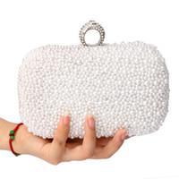 Wholesale Satin Pearl Bags - Wholesale- Women Bag Two Side Beaded Women's Pearl Clutch Evening Bag Beaded Handbag Beige White Pearl Beads Clutch Bag Shoulder Mini Bags
