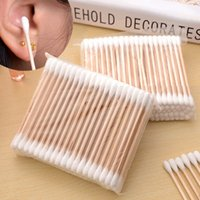 Wholesale Disposable Beauty - 100Pcs Pack 7.5cm Double Head Wood Cotton Swabs Stick Buds Tip For Medical Cure Health Beauty Disposable Bud Repair Tools