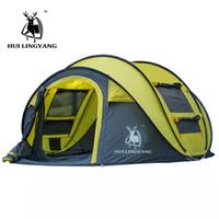 tenda de acampamento grande ao ar livre venda por atacado-Hui Lingyang Tenda de Lançamento Ao Ar Livre Tendas Automáticas Jogando Pop Up À Prova D 'Água Barraca de Acampamento Caminhadas À Prova D' Água Grande Família Barracas