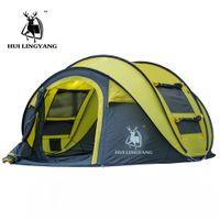 automatisches pop-up campingzelt großhandel-Hui Lingyang Werfen Zelt Outdoor Automatische Zelte Werfen Pop Up Wasserdichte Camping Wandern Zelt Wasserdichte Große Familie Zelte