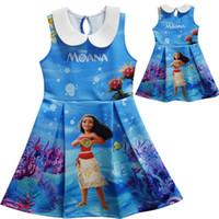 Wholesale Naturals Themes - Moana Dresses for Girls Sleeveless 2017 Halloween Cartoon Theme vestidos Back to School Toddler Kids clothes Island Girl vestido infantil