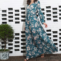 Wholesale Nice Chiffon Long Dress - Women maxi dresses polyester chiffon dresses flora flower dresses long sleeves blackish green deep v-neck casual nice workmanship