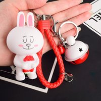 Wholesale Silicone Men Dolls For Women - 2017 NEW Cute bear Brown rabbit lovers Keychain Key chain hanging bag creative doll Pendant for woman