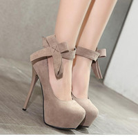 Wholesale Nude Color Wedding Shoes - 2017 multi color sweet beige big bowtie ankle strap high platform stiletto heels shoes 13cm 16cm size 34 to 40