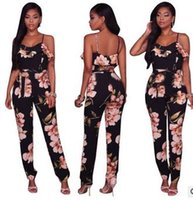 Wholesale Black Lotus Clothing - New Europe and the United States Style Rompers sexy Harness printed lotus leaf side Jumpsuits Casual fashion women clothing