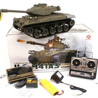 Wholesale Plastic Army Tanks - Telecontrol Tank Army Green Plastic Remote Control Simulation Sound Child Military Model Toy Turret 320 Degree Rotation 22CM 388lx I1